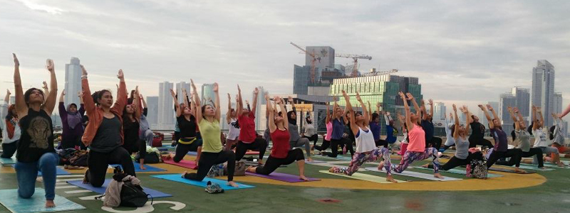 Jakarta Yogis Reach For The Sky With Rooftop Yoga Class