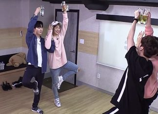 K-pop Kang Daniel with Wanna One do Beer Yoga